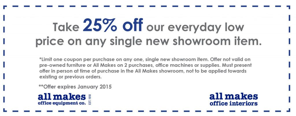 25% off any single new showroom item
