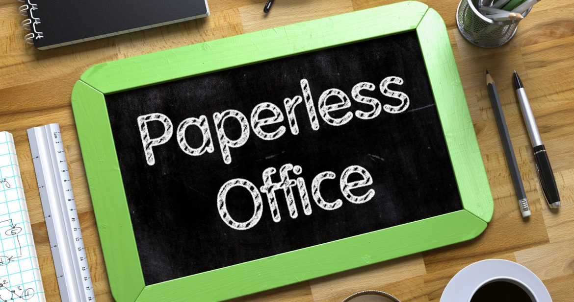 Paperless Office - Green Small Chalkboard with Hand Drawn Text and Stationery on Office Desk.
